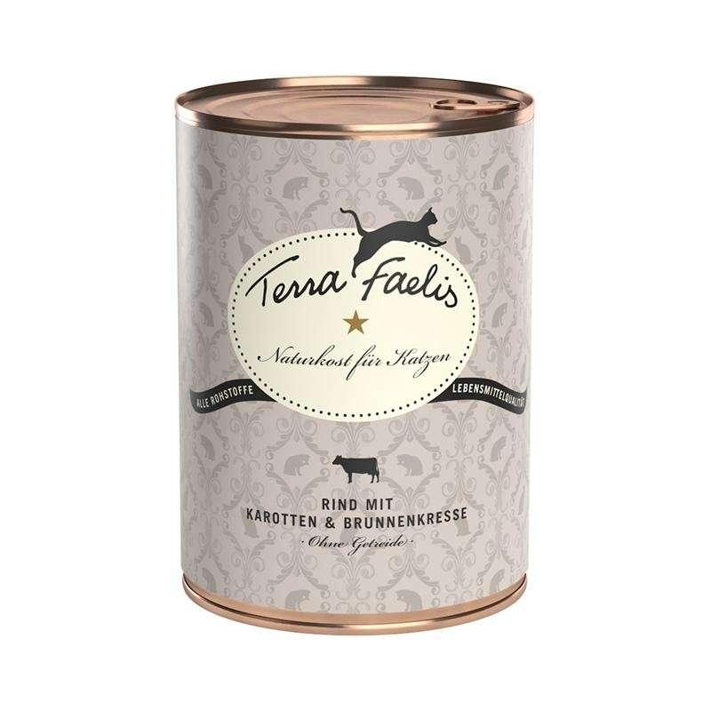 Terra Faelis Menú de carne Buey con zanahorias y berros 100 g, 400 g, 200 g prueba
