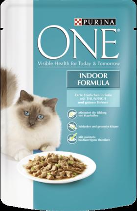 Purina ONE Indoor Formula Tun & grønne bønner 85 g