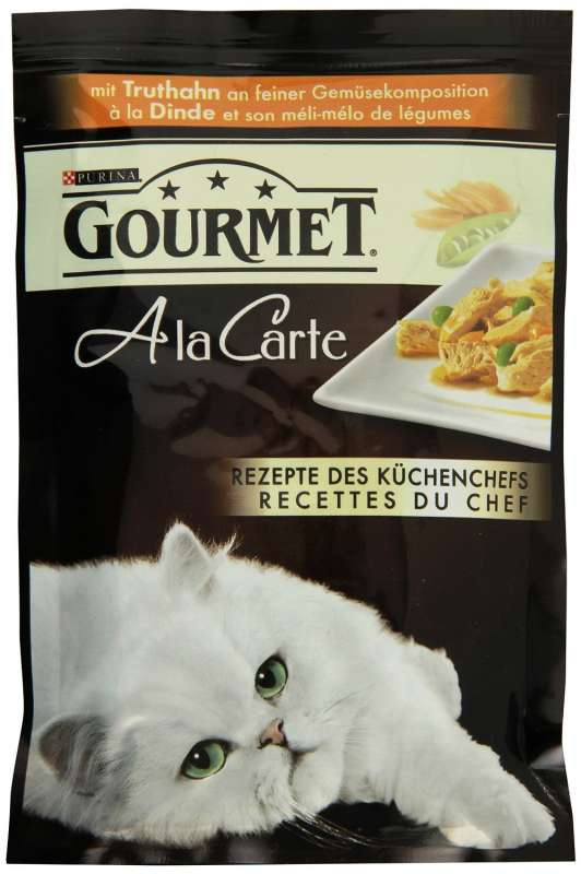 Purina Gourmet A la Carte med Kalkun på fine Grøntsager sammensætning 85 g 7613033057991 anmeldelser