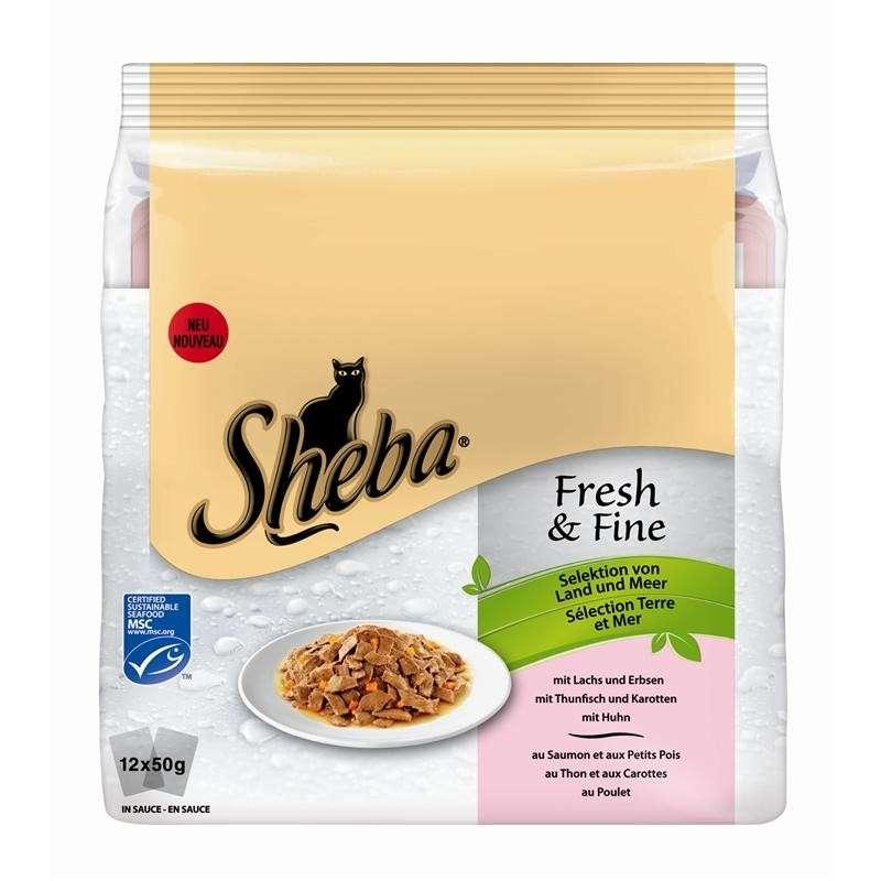 Sheba Multipack Fresh & Fine, Land & Hav-variationer 12x50 g