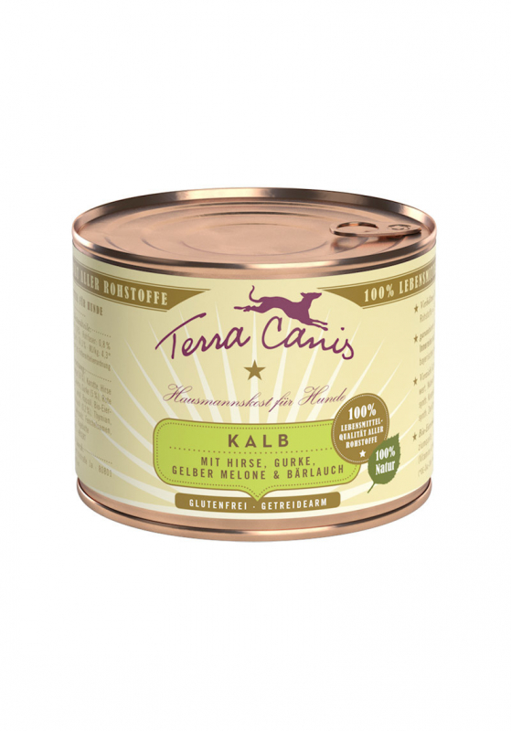 Terra Canis Kalfsvlees met Gierst, Komkommer, Gele Meloen en Wilde Knoflook 200 g 4260109622398
