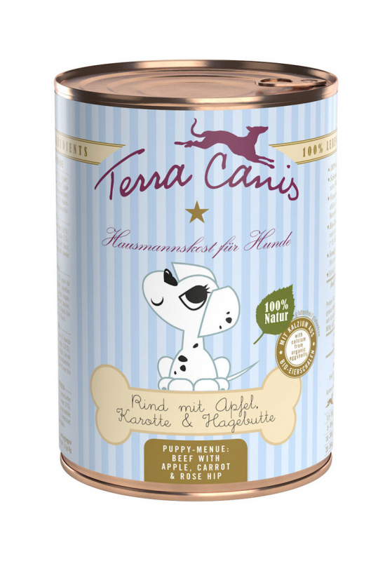 Terra Canis Puppy Menu, Rundvlees met Appel, Wortel en Rozenbottel  Rundvlees & Appel 800 g