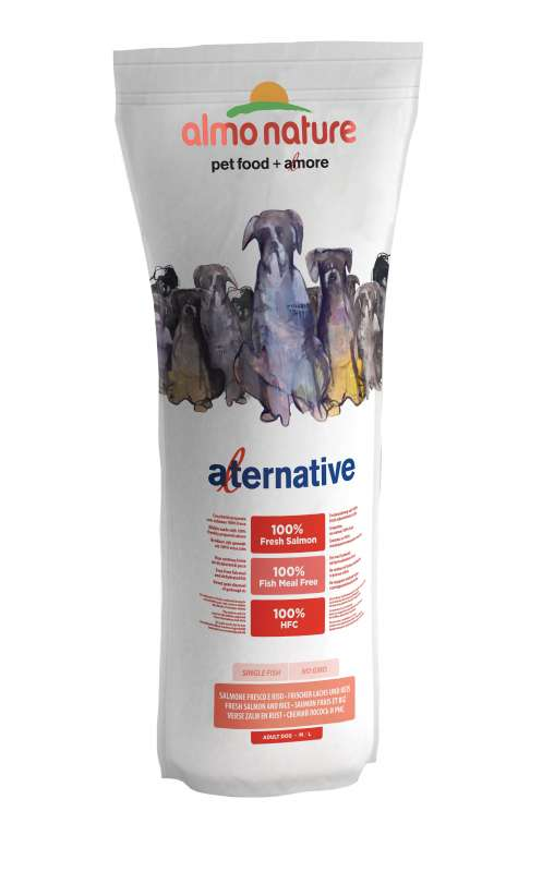 Almo Nature Alternative Medium + Large - Fresh Salmon and Rice 9.5 kg 8001154125436 erfaringer