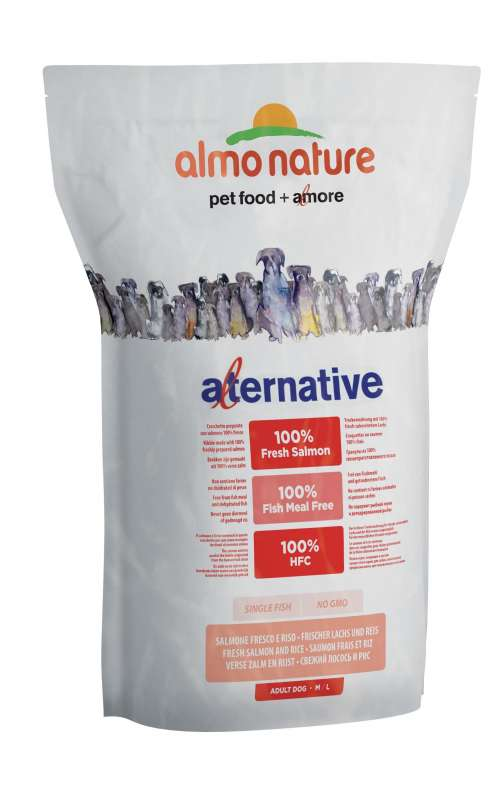 Almo Nature Alternative Medium + Large - Fresh Salmon and Rice 3.75 kg 8001154125436 erfaringer