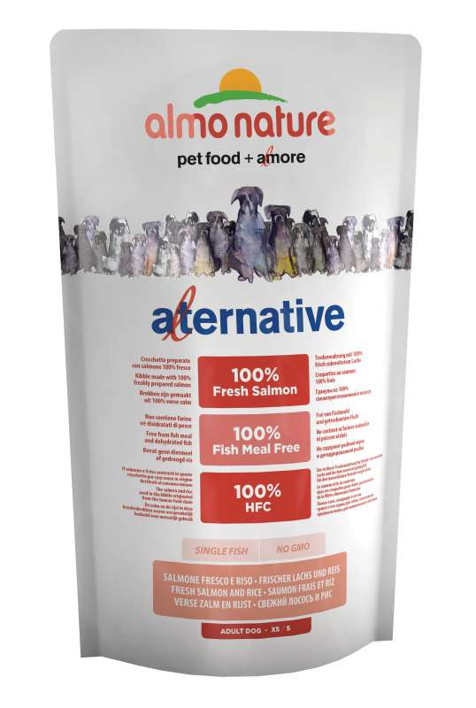 Almo Nature Alternative Extra Small + Small  Zalm en Rijst 750 g 8001154125351
