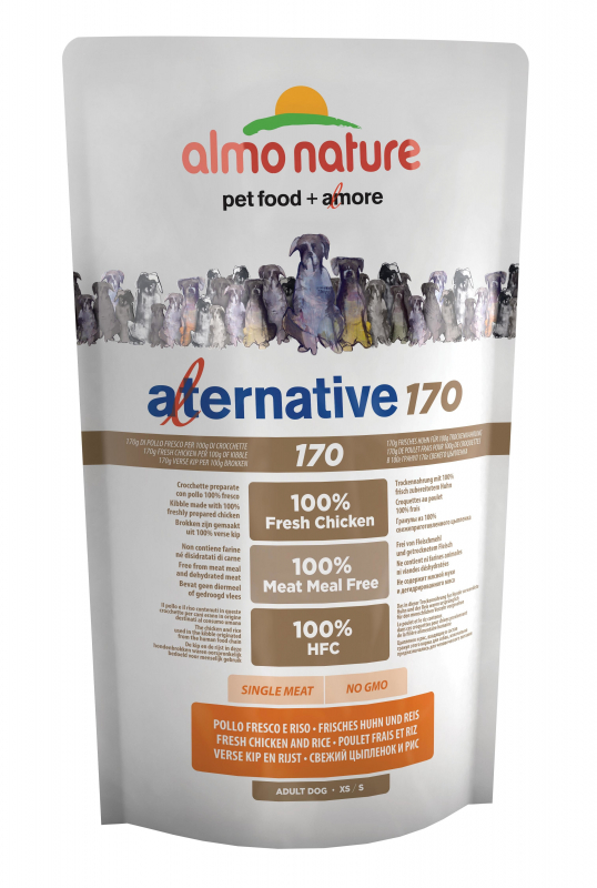 Almo Nature Alternative 170 Extra Small + Small Kip en Rijst 750 g 8001154126082