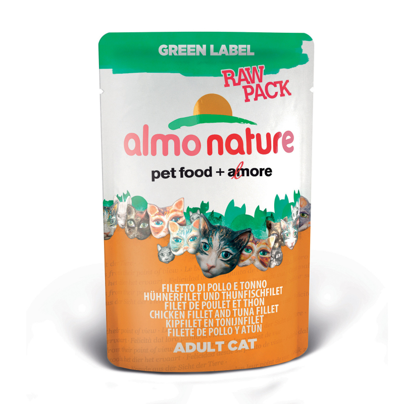 Almo Nature Green Label Raw Pack with Chicken Fillet and Tuna Fillet 55 g