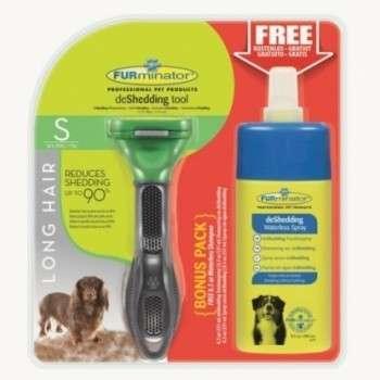 FURminator Dog Tool lang haar S + DeShedding Waterless Spray Bonuspack   met korting aantrekkelijk en goedkoop kopen