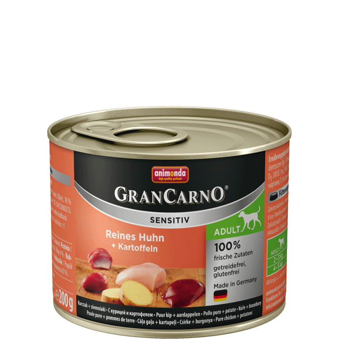 Animonda GranCarno Sensitive Adult Chicken + Potatoes 200 g 4017721824132 erfaringer