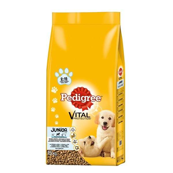 Pedigree Junior Medium with Chicken and rice 15 kg, 3 kg
