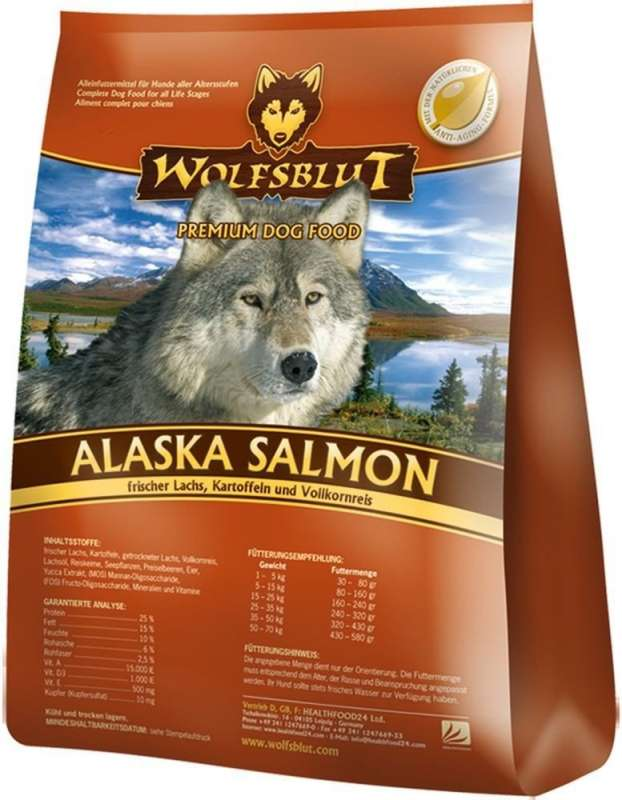 Alaska Salmon, Salmon, Potatoes with Brown Rice from Wolfsblut 2 kg, 15 kg buy online