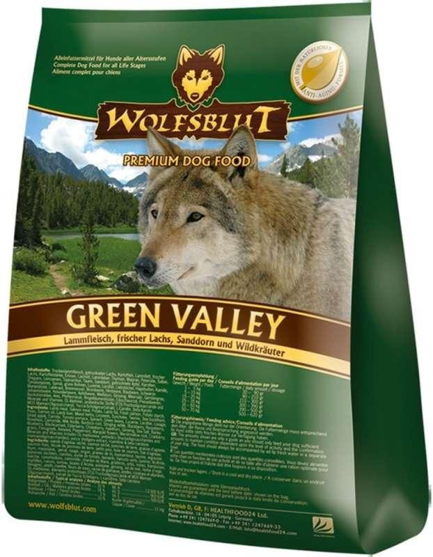Wolfsblut Green Valley  à base d'agneau, de saumon frais, d'argousier et d'herbes 15 kg, 2 kg, 500 g, 7.50 kg