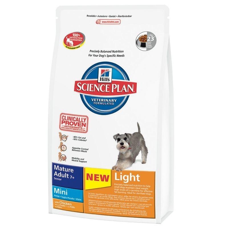 Croquettes Science Plan Canine - Mature Adult 7+ Mini Light Poulet 2.5 kg  de chez Hill's achats pas cher
