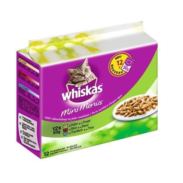 Whiskas Mini Menü in 6er Multipack met Kip, Rundvlees en Tonijn 12x50 g