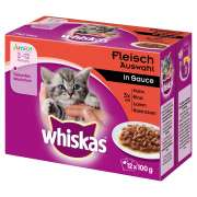 Whiskas Multipack Junior Vleeskeuze in Saus 12x100 g
