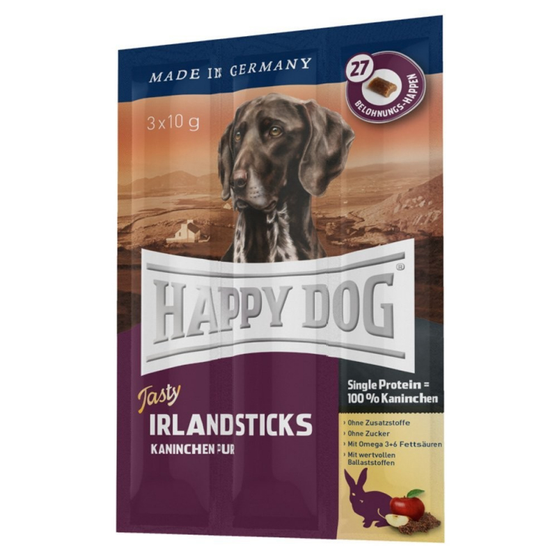 happy dog tasty irland sticks mit kaninchen pur 3x10 g g nstig kaufen. Black Bedroom Furniture Sets. Home Design Ideas