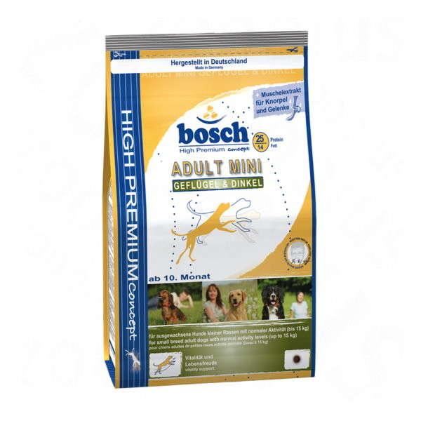 bosch Adult Mini Fjerkræ & Spelt 3 kg, 1 kg køb rimeligt og favoribelt med rabat