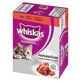Whiskas Mmmm Bocaditos naturales en 12 bolsitas Multipack con Trozos de Carne Jugosa en Gelatina 12x85 g