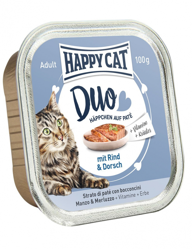 happy cat duo pâté on nibbles beef codfish tray 100 g wet cat food