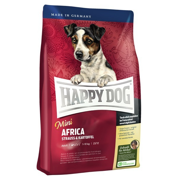 Happy Dog Supreme Mini Africa with Ostrich & Potato 4 kg 4001967102116 erfaringer