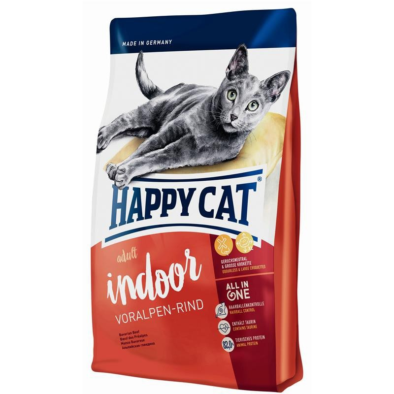 Happy Cat Supreme Indoor Adult - naudanliha 10 kg, 4 kg, 1.4 kg, 300 g