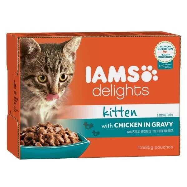 Iams Multipack Delights Kitten Met Kip In Saus 12x85 g