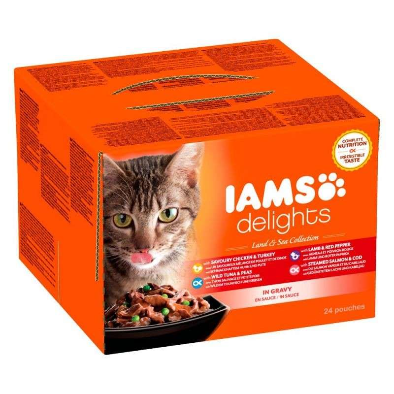 Iams Delights Land & Sea Collection in Sauce 24x85 g