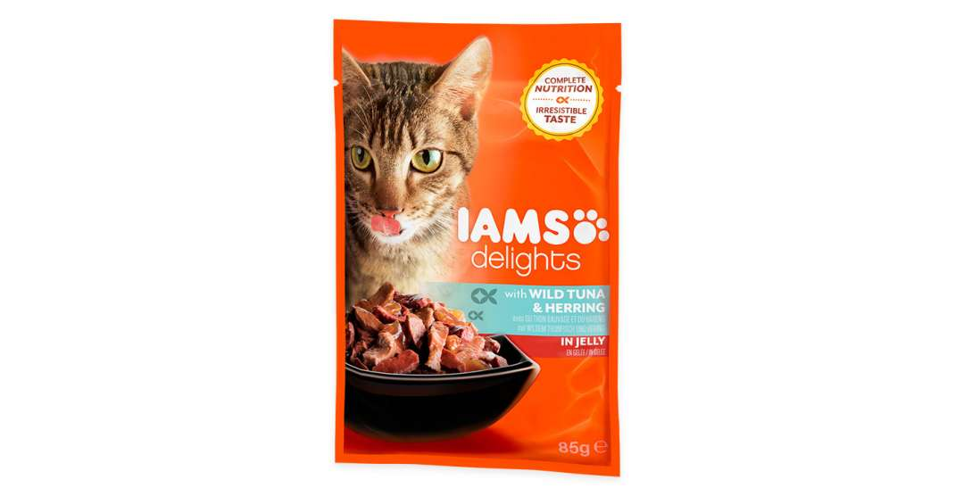 Iams Delights Wild Tuna with Herring in jelly 85 g