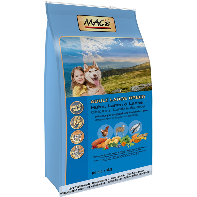 MAC's Adult Large Breed Kip, Lam & Zalm 12 kg, 3 kg, 750 g