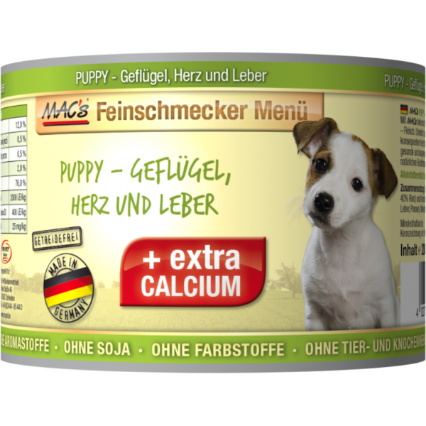 MAC's Feinschmecker Menü Puppy - Poultry, Hearts & Liver canned 200 g