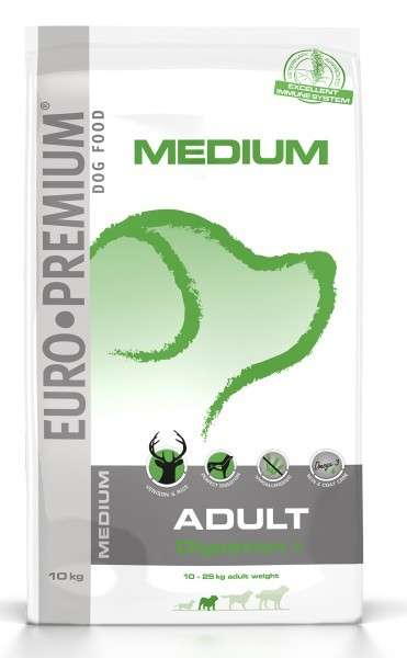 EURO-PREMIUM Medium Adult Digestion+ Hert & Rijst 2.5 kg, 10 kg