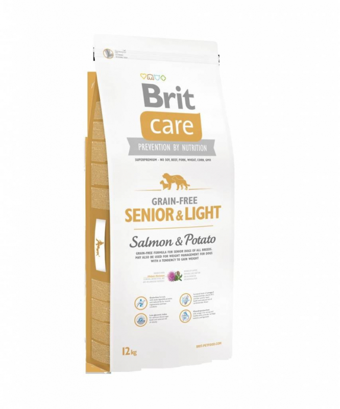 Brit Care Grain-free Senior&Light med Laks og Potet 12 kg