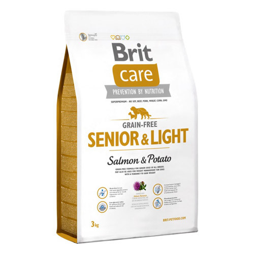 Brit Care Grain-free Senior&Light med Laks og Potet 3 kg
