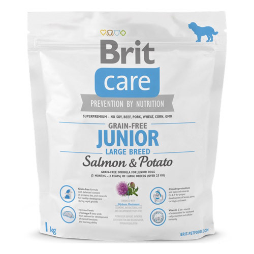 Brit Care Junior Large Breed Grain-free med Lax och Potatis  1 kg Lax & Potatis
