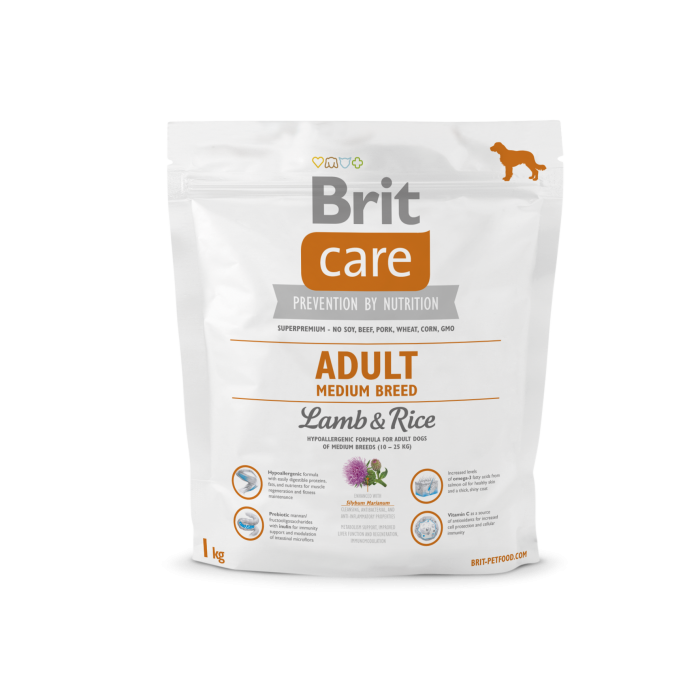 Brit Care Adult Medium Breed Lammasta & Riisiä 1 kg