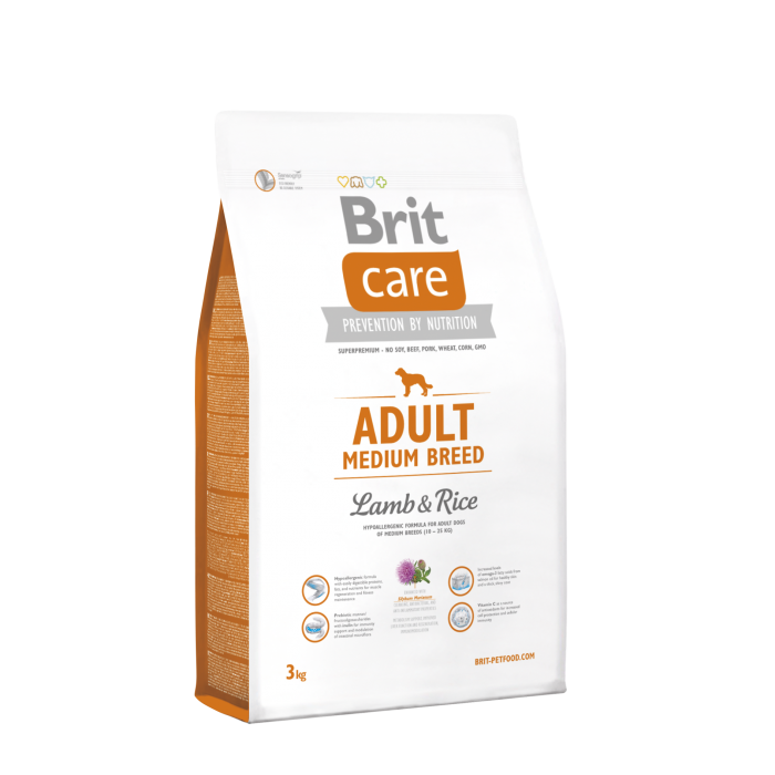 Brit Care Adult Medium Breed Lammasta & Riisiä 3 kg