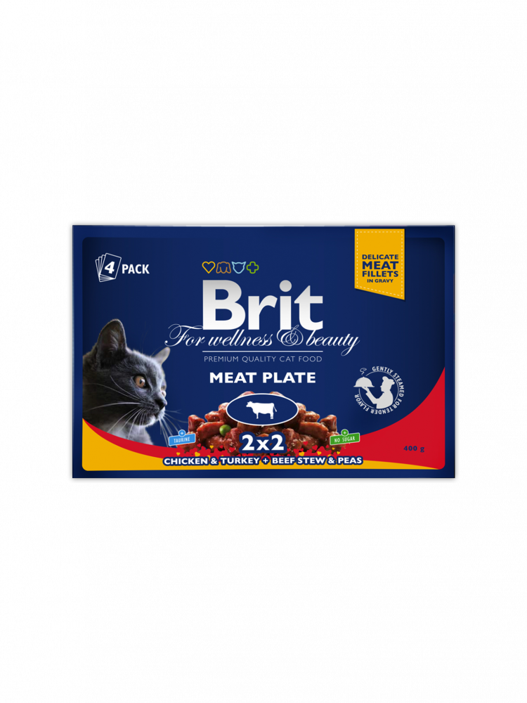 Premium Pouches Meat Plate by Brit 4x100 g buy online