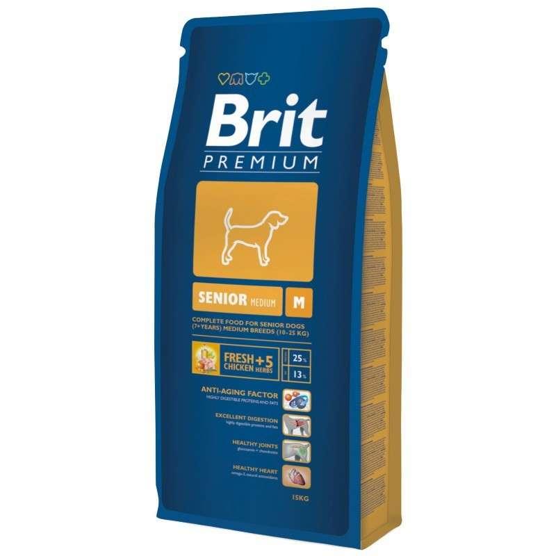 Brit Premium Senior Medium 15 kg køb rimeligt og favoribelt med rabat