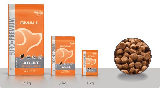 EURO-PREMIUM Small Adult Kip & Rijst 12 kg, 3 kg, 1 kg