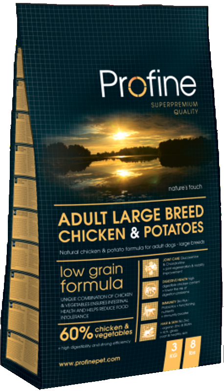 Profine Adult Large Breed Chicken & Potatoes 15 kg køb rimeligt og favoribelt med rabat