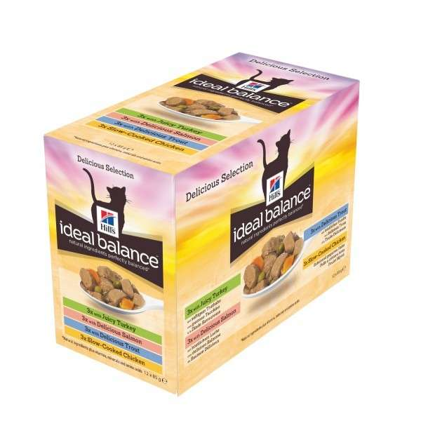 Hill's Ideal Balance Feline Multipack Adult au Poulet & Dinde & Truite & Saumon 12x85 g