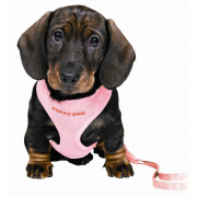 Trixie Puppy Soft Harness with Leash Vaaleanpunainen