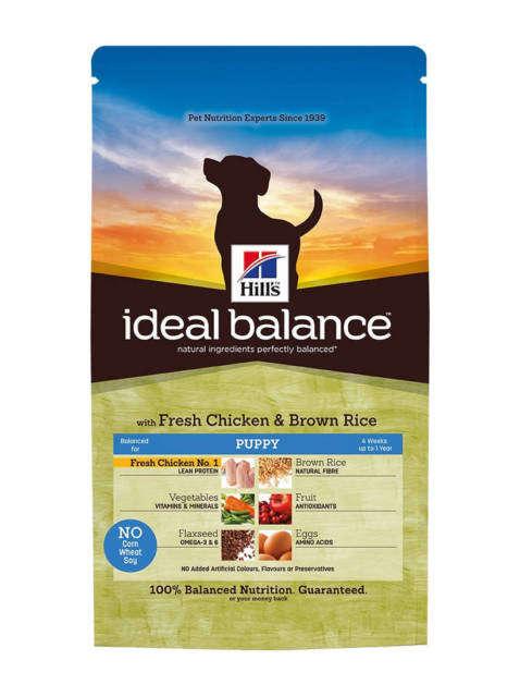 Hill's Ideal Balance Puppy tuore Kananliha ja ruskea Riisi 12 kg, 2 kg, 700 g testatut