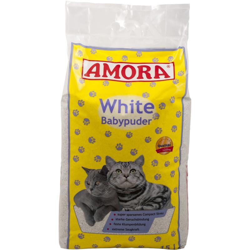 Amora Arena Blanca para Gatos con Olor a Talco de Bebé 15 l