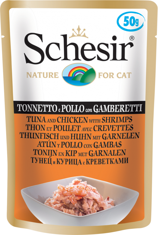 Schesir Pouch Tuna and Chicken in Shrimps 50 g order cheap