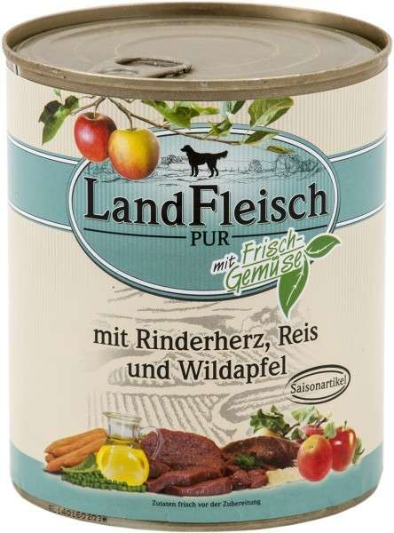 Landfleisch Pur Beef heart, Rice & Forest apple with fresh vegetables Can 400 g