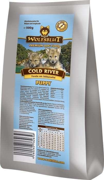 Wolfsblut Cold River Puppy mit Forelle und Süßkartoffel 15 kg, 2 kg, 500 g