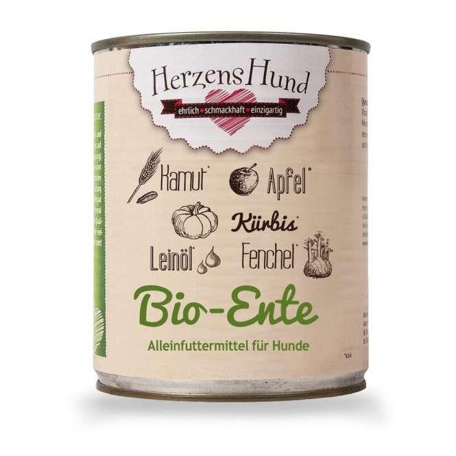 Herzens Hund Canard + légumes biologiques pour Chien 800 g