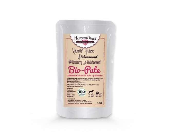 Herzens Hund Bio Dindon + du Mil pour Chien 130 g