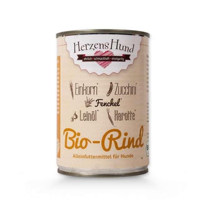Herzens Hund Bœuf biologique + Einkorn + Légumes pour Chien 400 g, 130 g, 800 g
